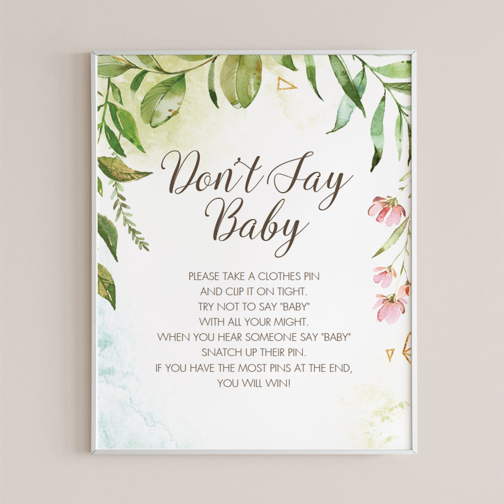 Watercolor shower game dont say baby by LittleSizzle