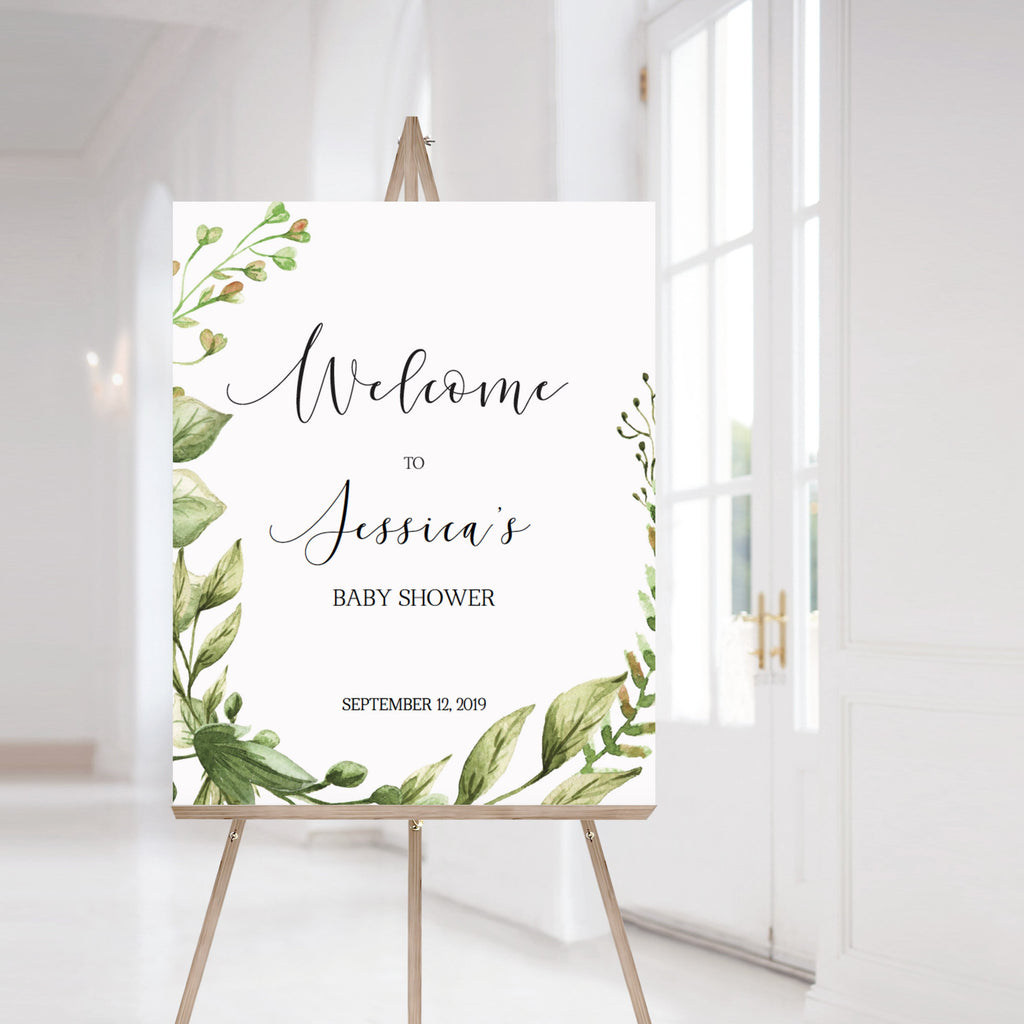 Greenery baby shower welcome to sign template by LittleSizzle