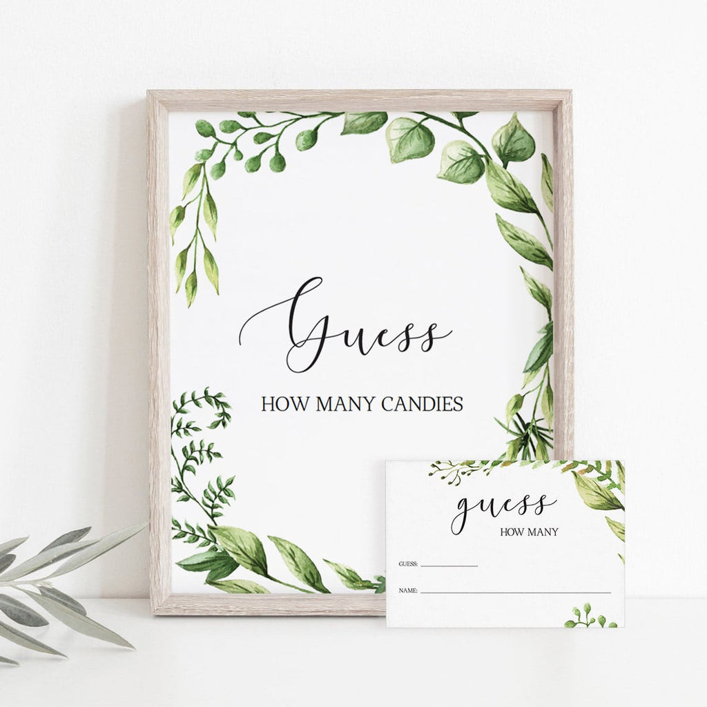 Baby Shower Guessing Game Package Greenery