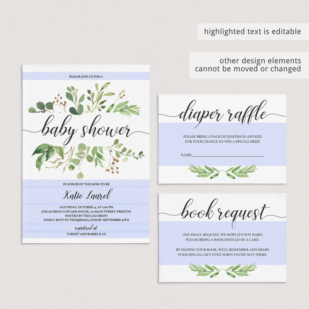 Green Baby Shower Invitation Set Templates