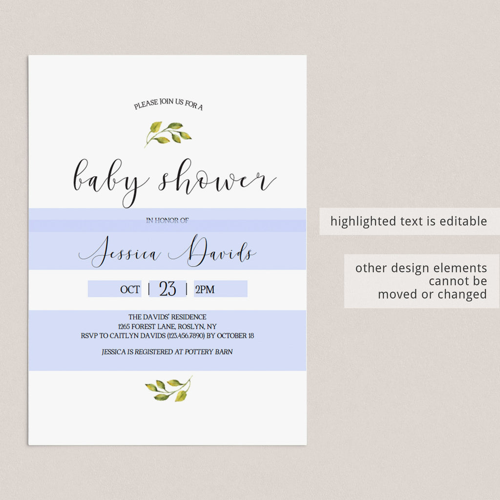 Oh Baby Invite B86 Modern Baby Shower Invites Minimalist Baby Shower Invitation Blue Baby Shower Invitation INSTANT DOWNLOAD Template