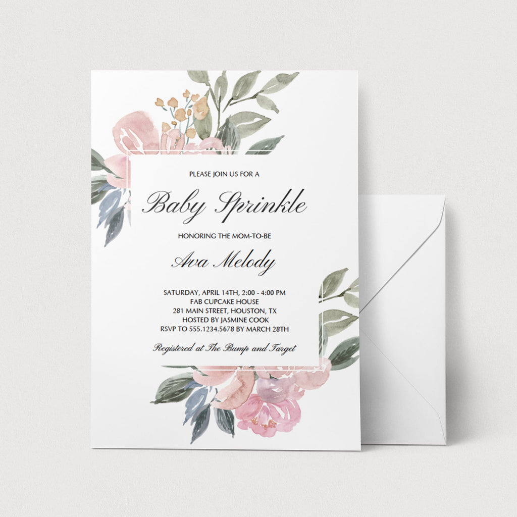 Pink Floral Baby Sprinkle Invitation Template by LittleSizzle