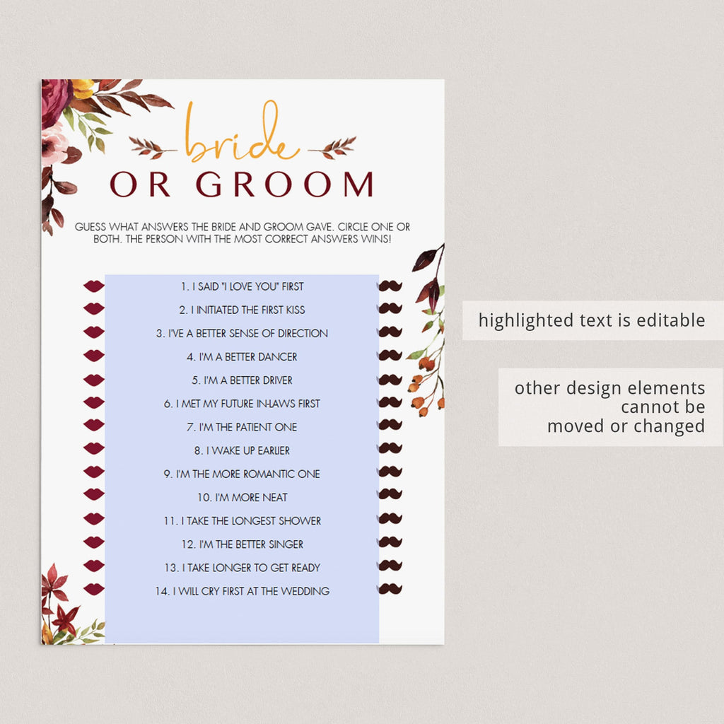 DIY bridal shower games bride of groom who said what by LittleSizzle