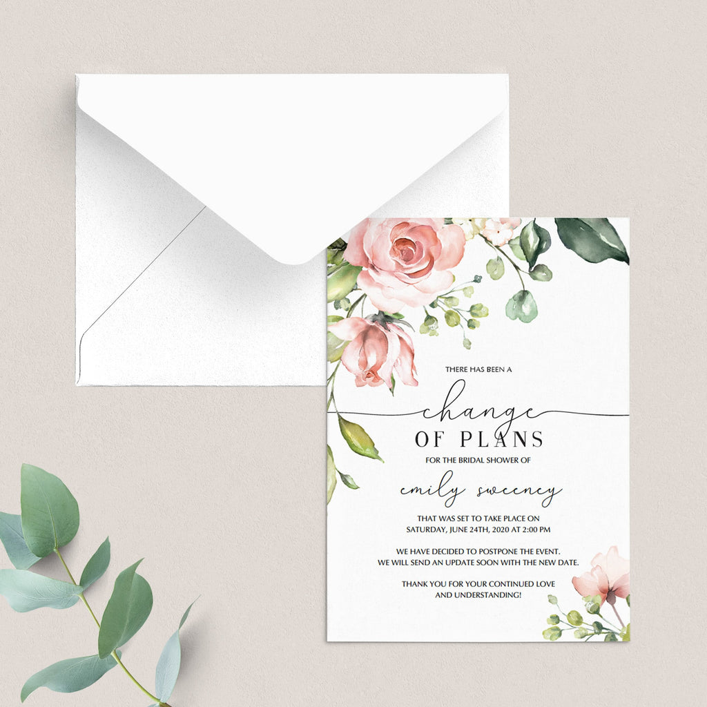 Change of plans template for bridal shower by LittleSizzle
