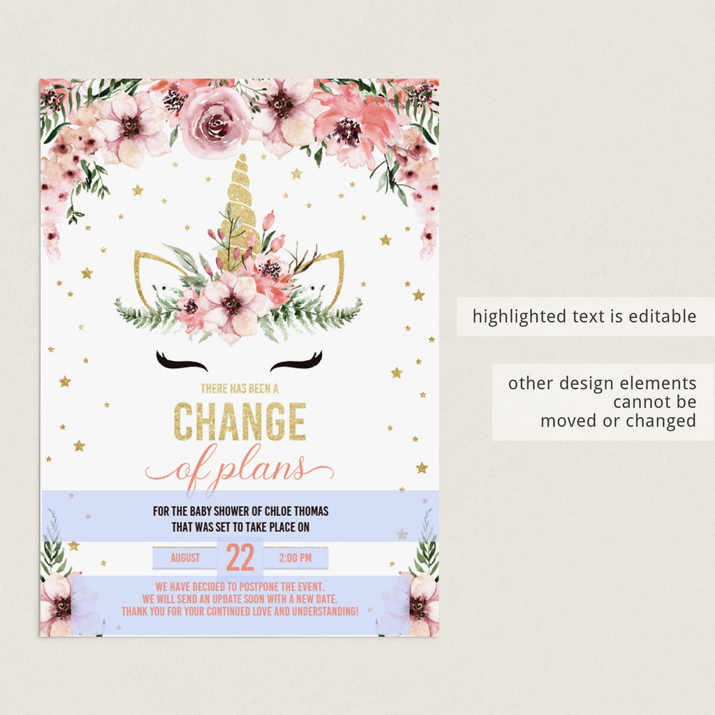 Digital postponed template for girl baby shower by LittleSizzle