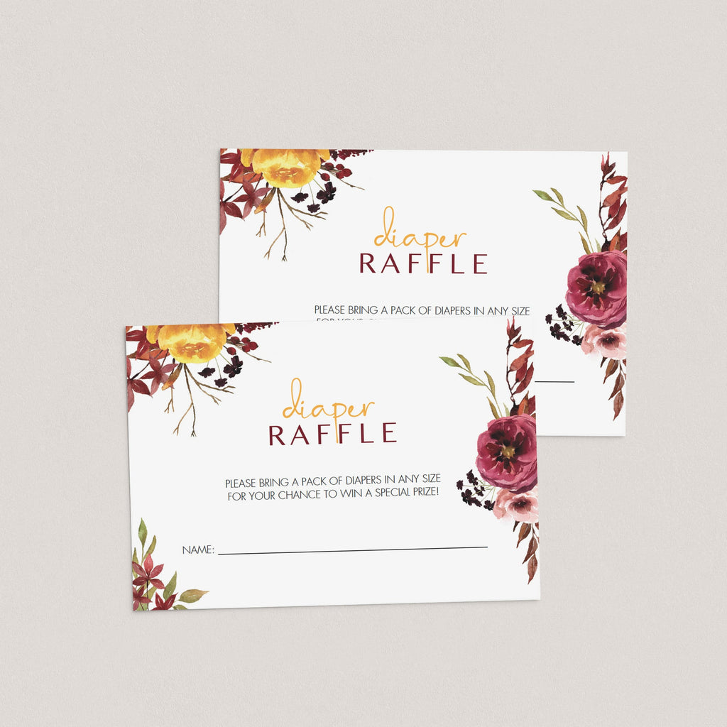 Editable diaper raffle tickets boho floral theme by LittleSizzle
