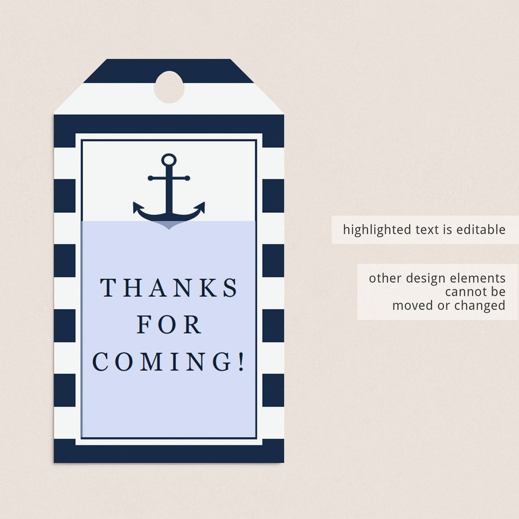 Nautical bridal shower thank you tags by LittleSizzle