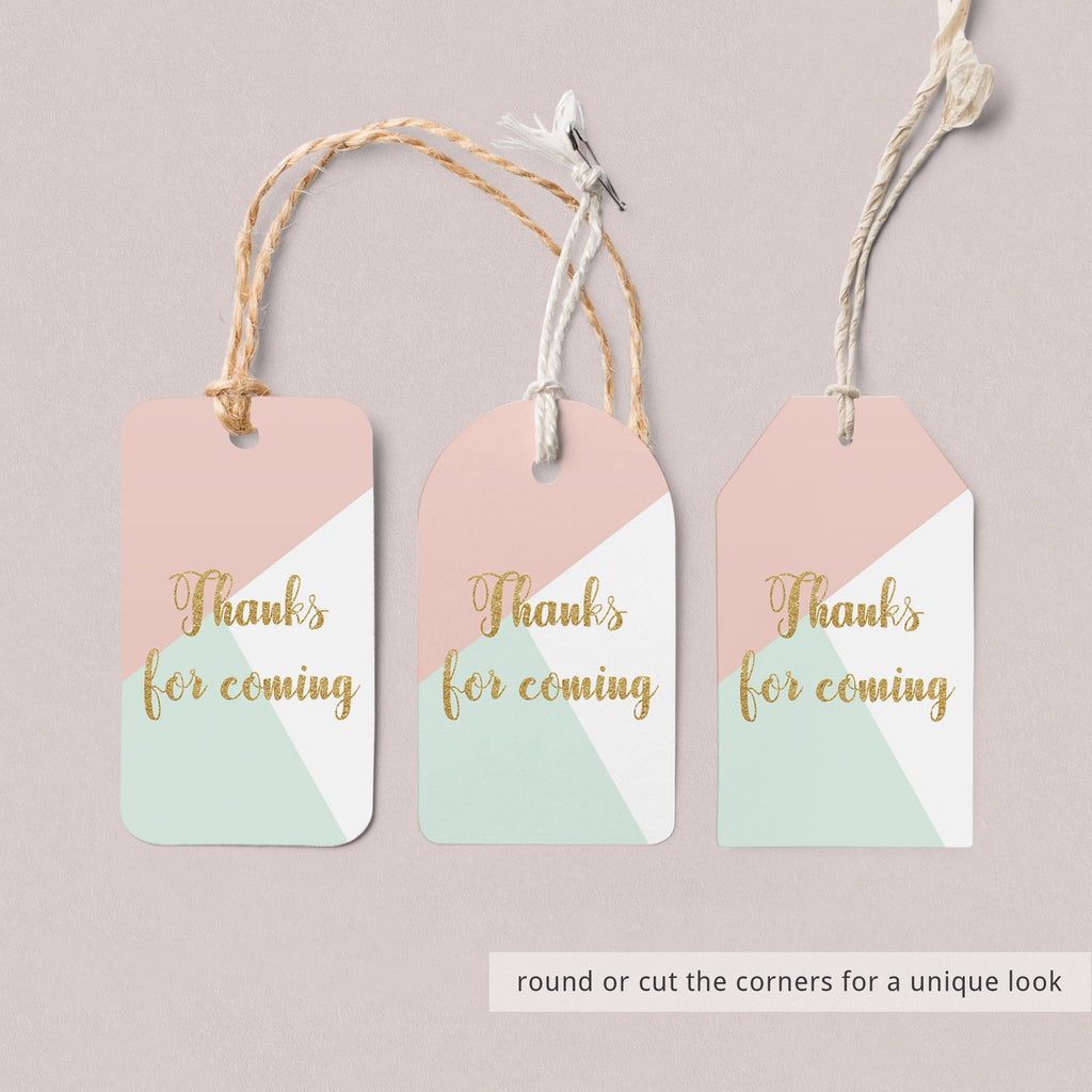Printable Thank You Favor Tag for Pastel Party