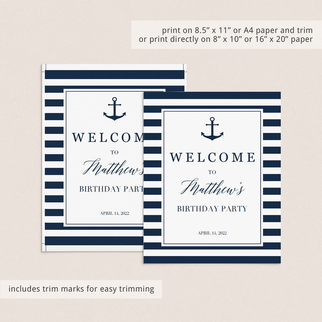 Boy first birthday welcome sign template by LittleSizzle