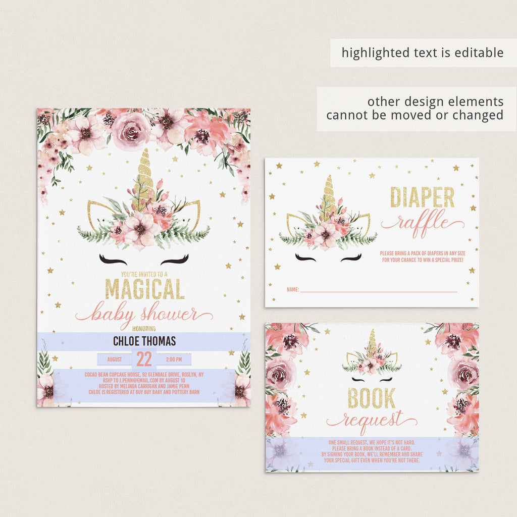 DIY unicorn babyshower party invitation bundle templates by LittleSizzle