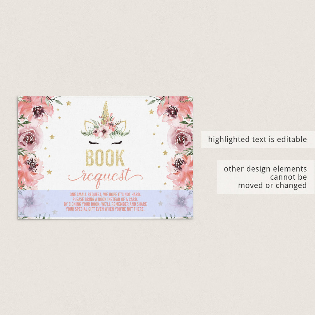 Pink and gold girl baby shower book request cards with unicorn by LittleSizzle