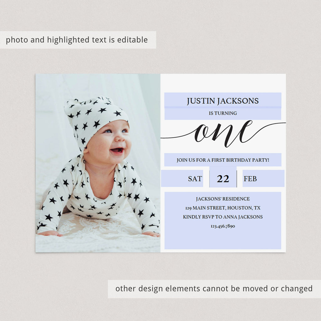 Editable first birthday invite black and white by LittleSizzle