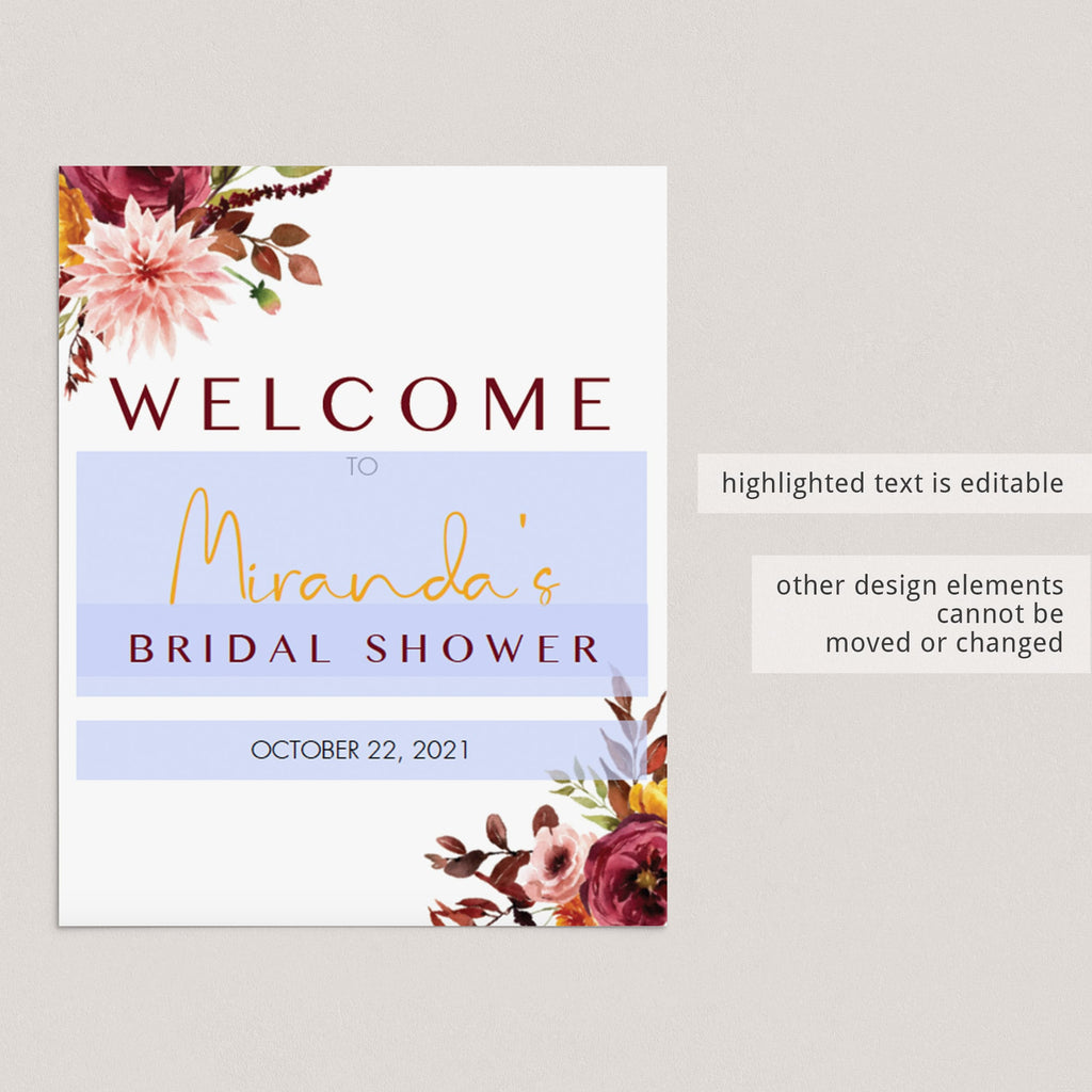 Editable welcome sign for bridal shower burgundy and blush flowers by LittleSizzle