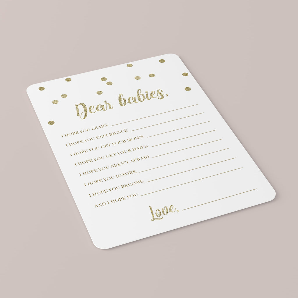 Dear Babies Cards for Gold Baby Shower Printable