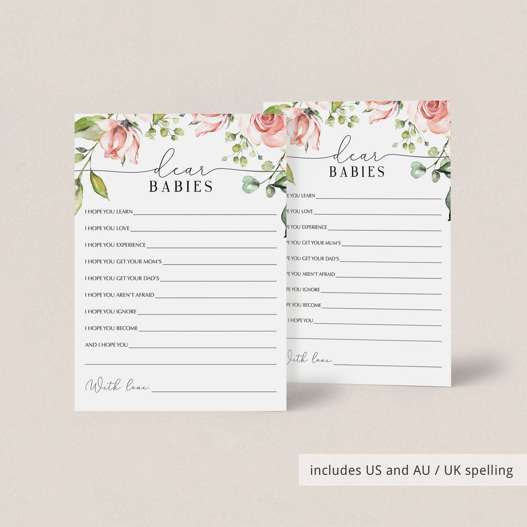 Dear twin babies wishes card printable floral theme by LittleSizzle