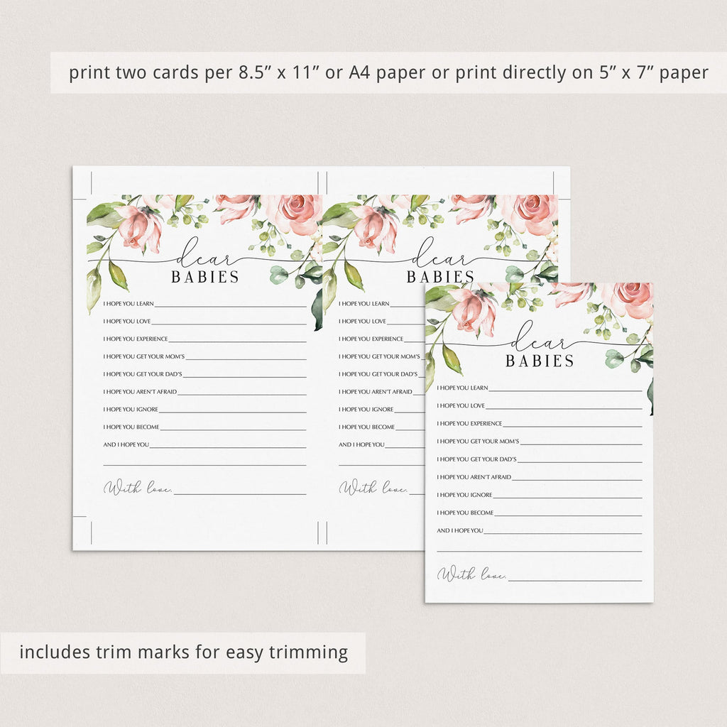 Instant download twin baby shower game floral by LittleSizzle