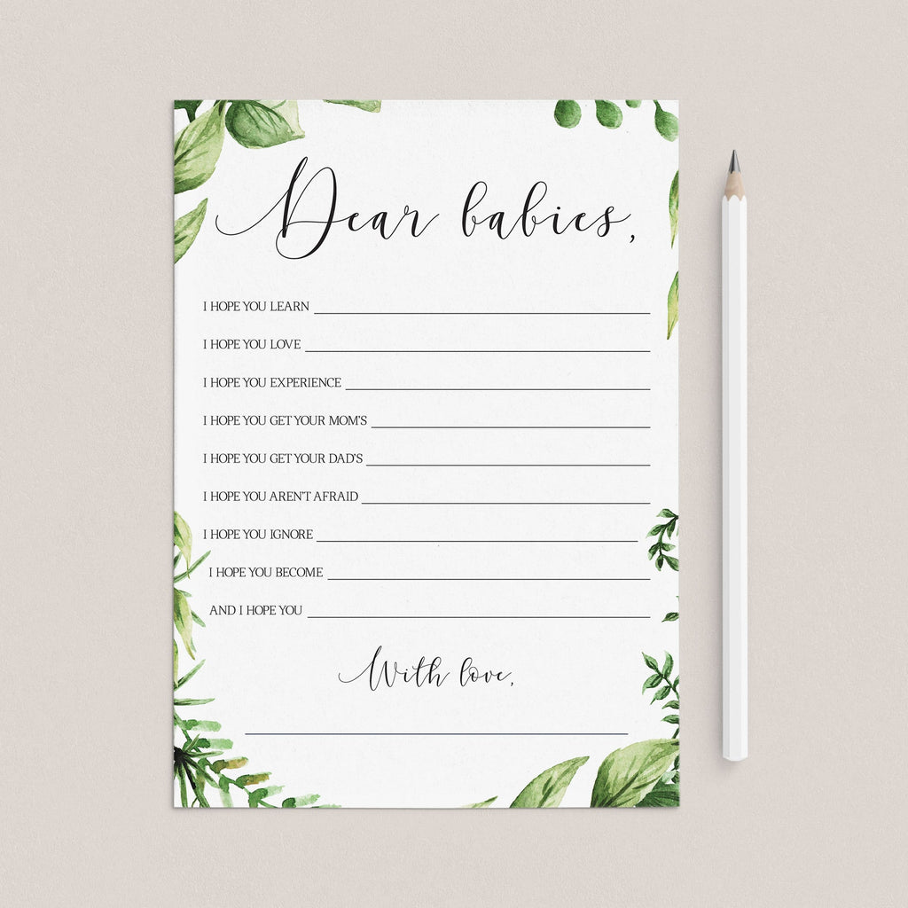 Twins dear babies card printable greenery by LittleSizzle