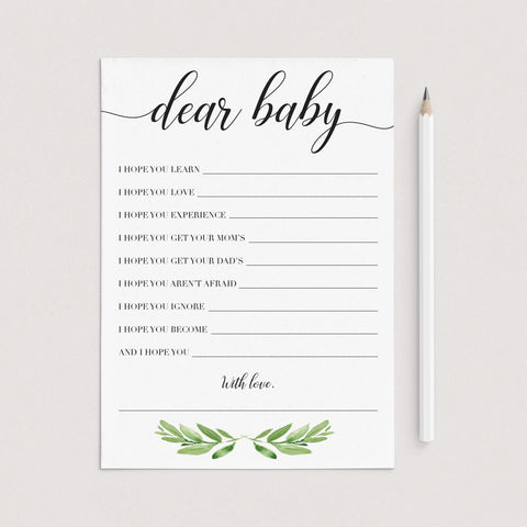 Dear baby wishes cards printable greenery by LittleSizzle