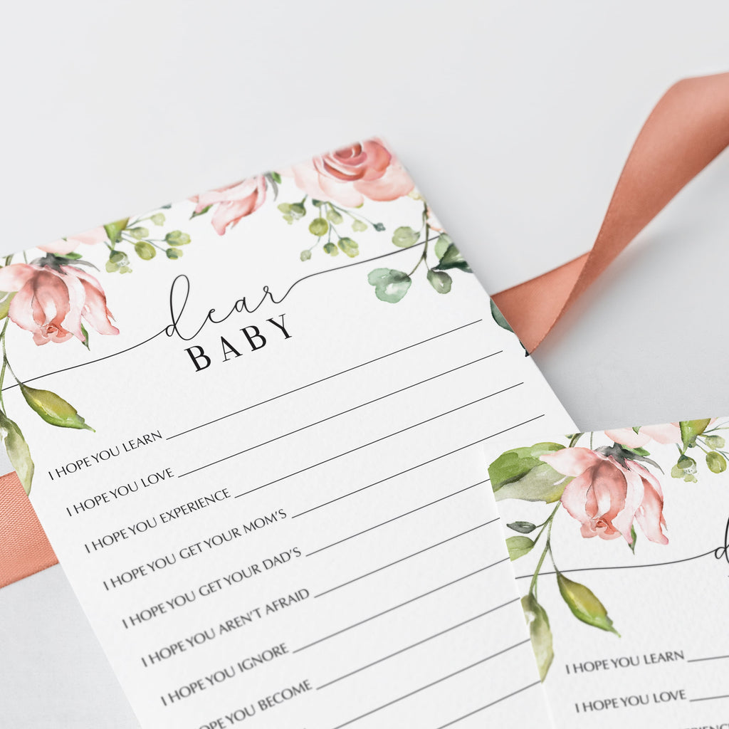 Printable dear baby game for spring baby shower by LittleSizzle