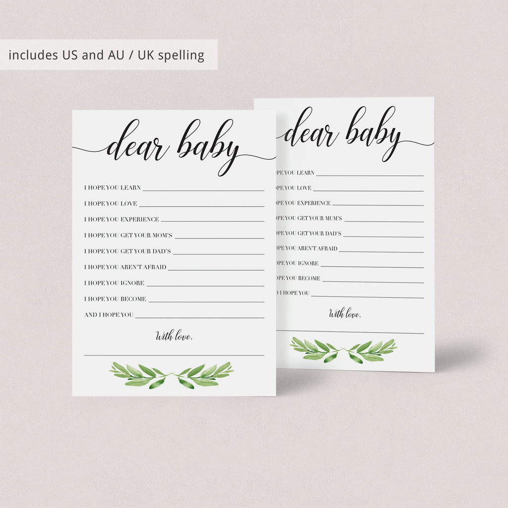 Printable Wishes For Baby Cards For Greenery Themed Baby Shower Instant Download Littlesizzle