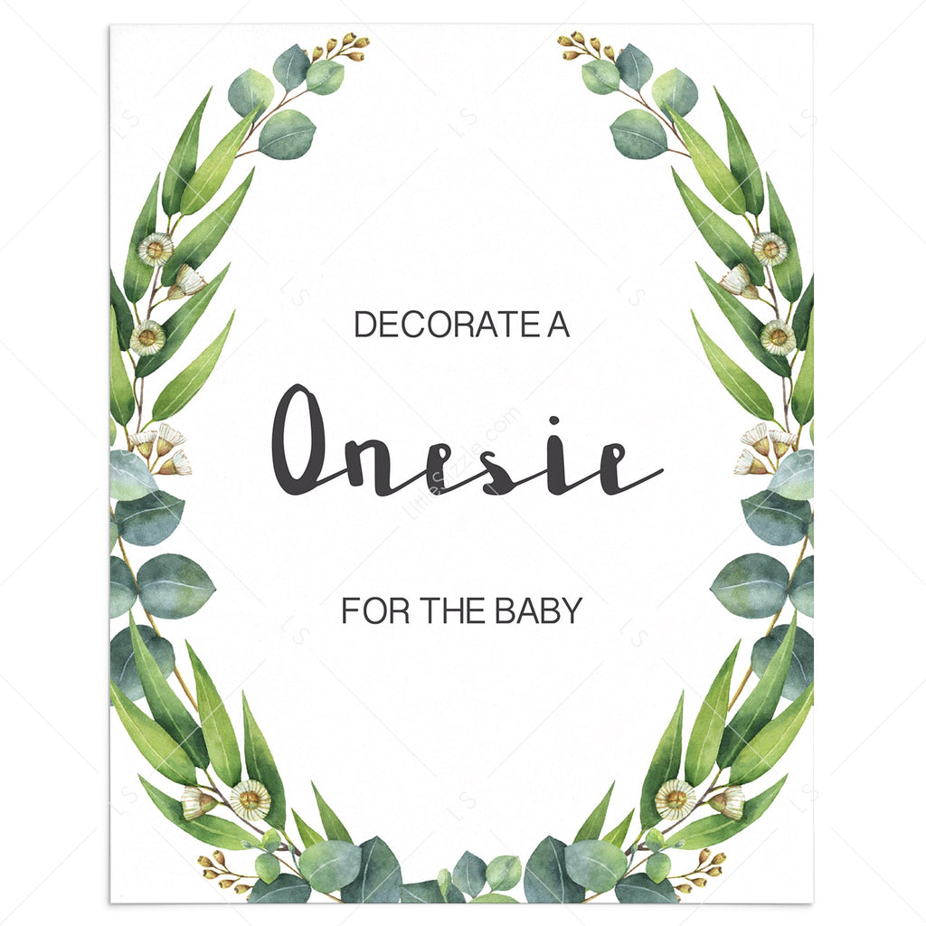 Onesie decorating station greenery baby shower printable by LittleSizzle