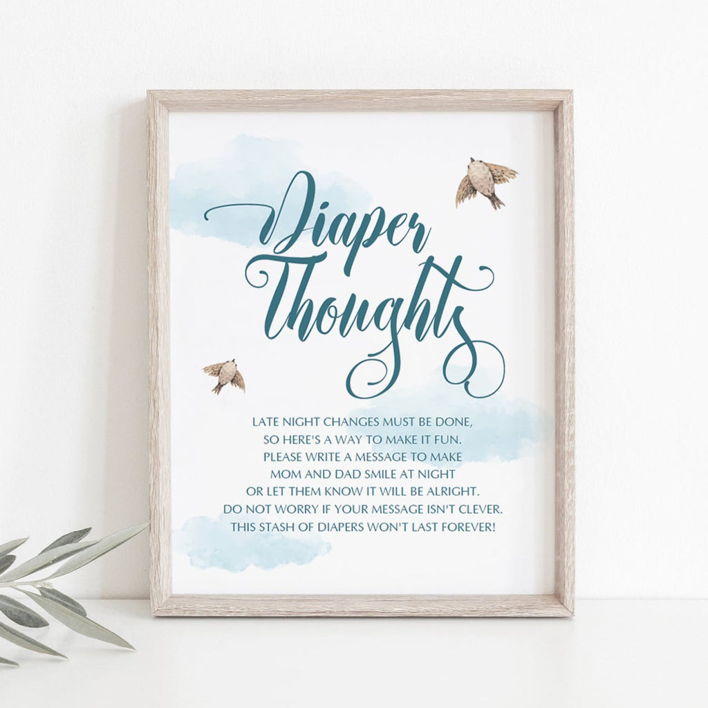 Blue boy shower diaper thoughts station printable by LittleSizzle