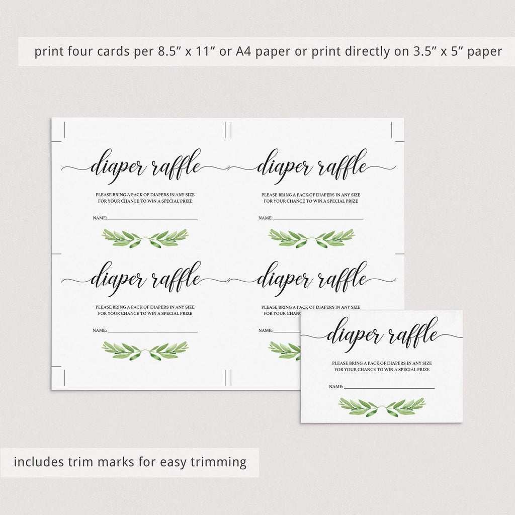 Green leaf watercolor baby shower diaper raffle ticket printable by LittleSizzle