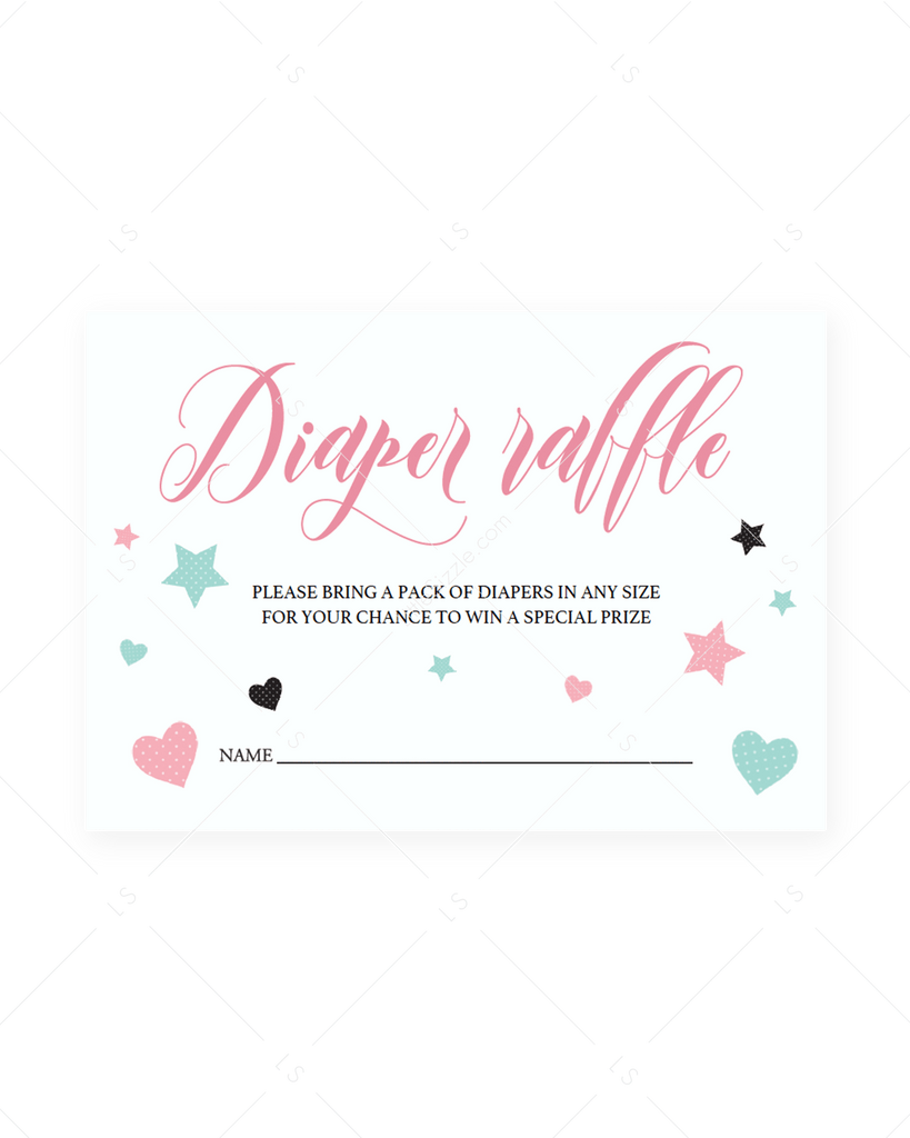 Pink And Mint Diaper Raffle Ticket Template