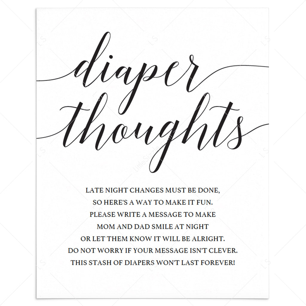 Simple diaper thoughts sign template by LittleSizzle