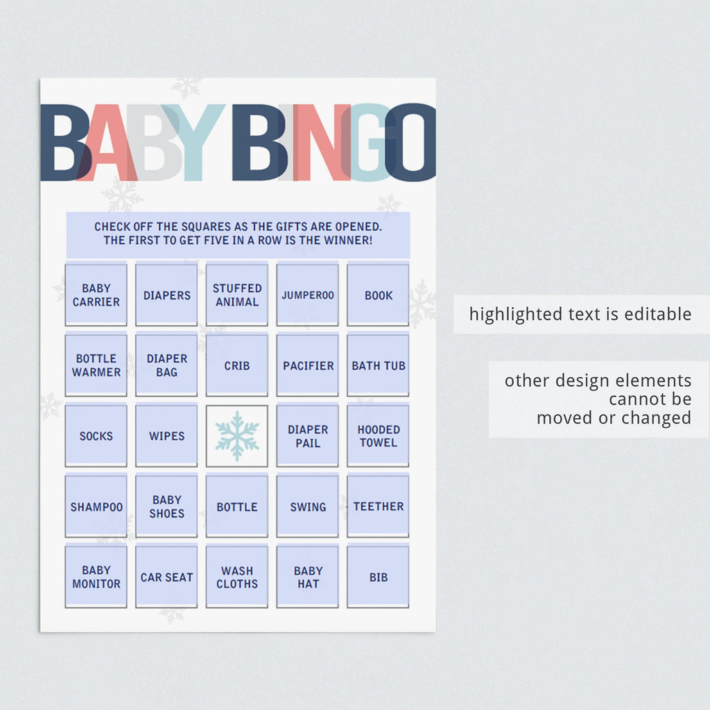 Baby bingo template for boy baby party by LittleSizzle