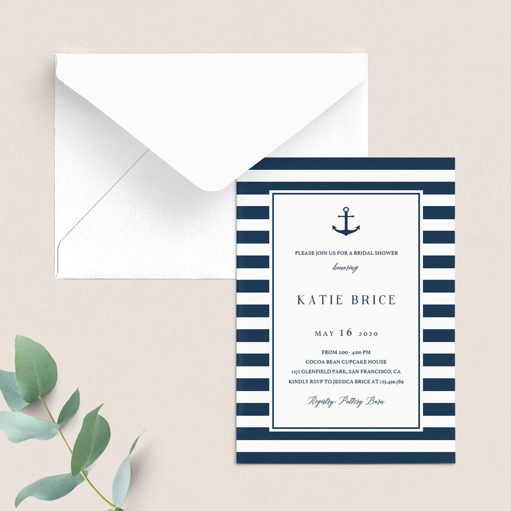digital bridal shower invitations nautical themed