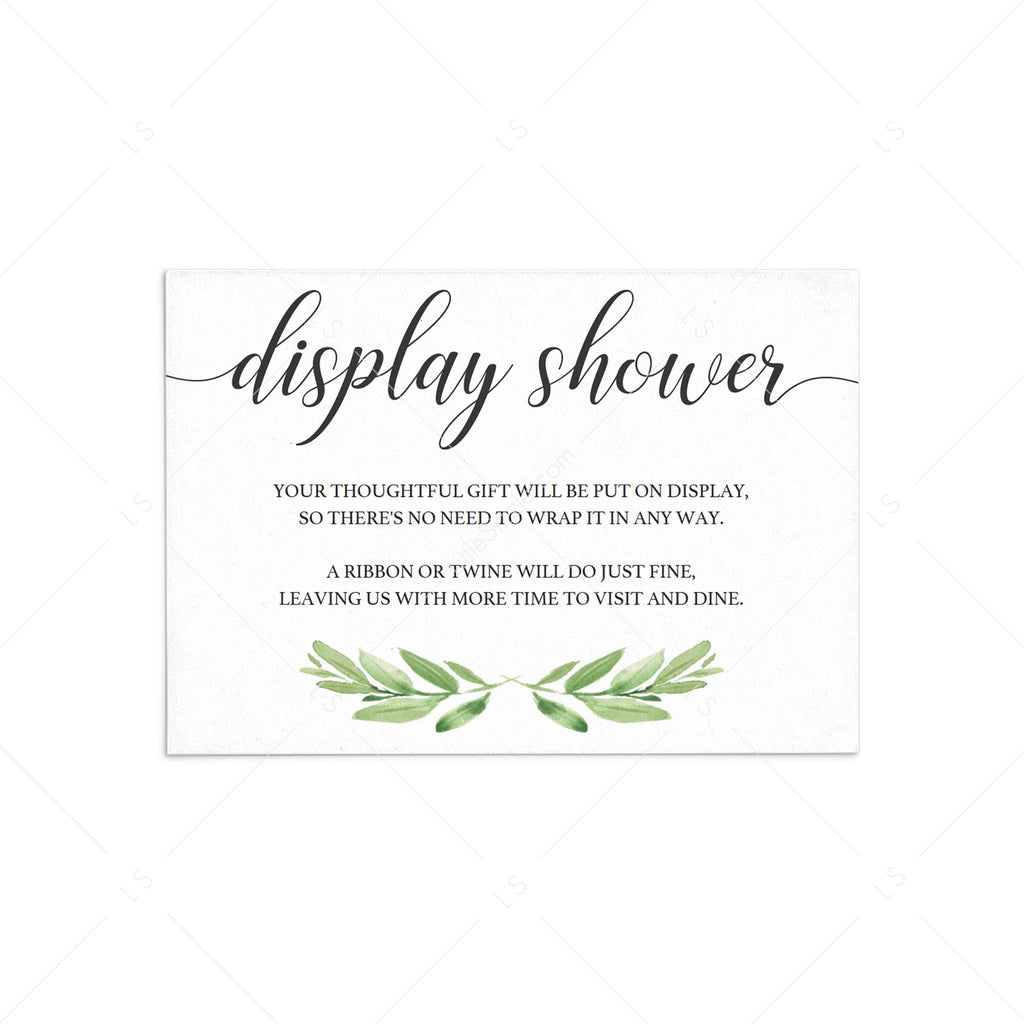 Greenery display shower insert card template by LittleSizzle