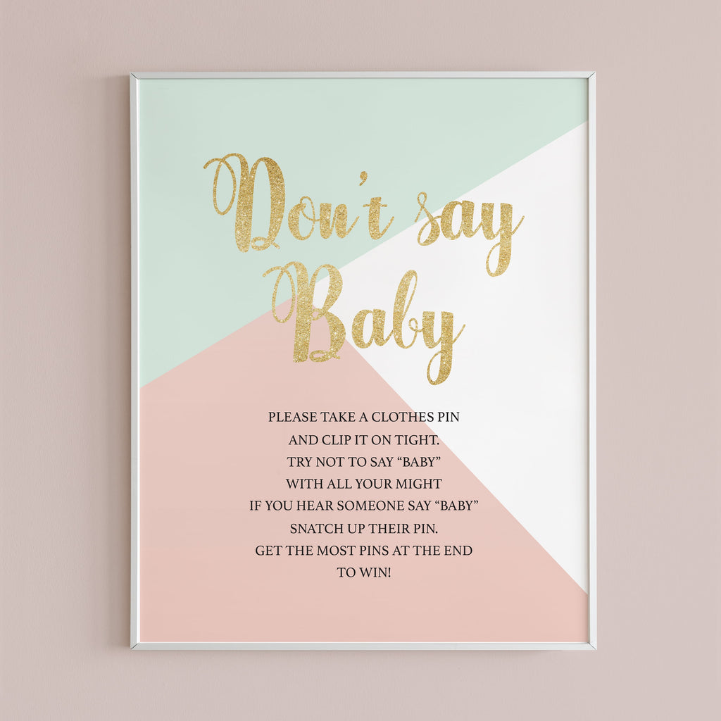 Modern baby shower games printable table sign do not say baby by LittleSizzle