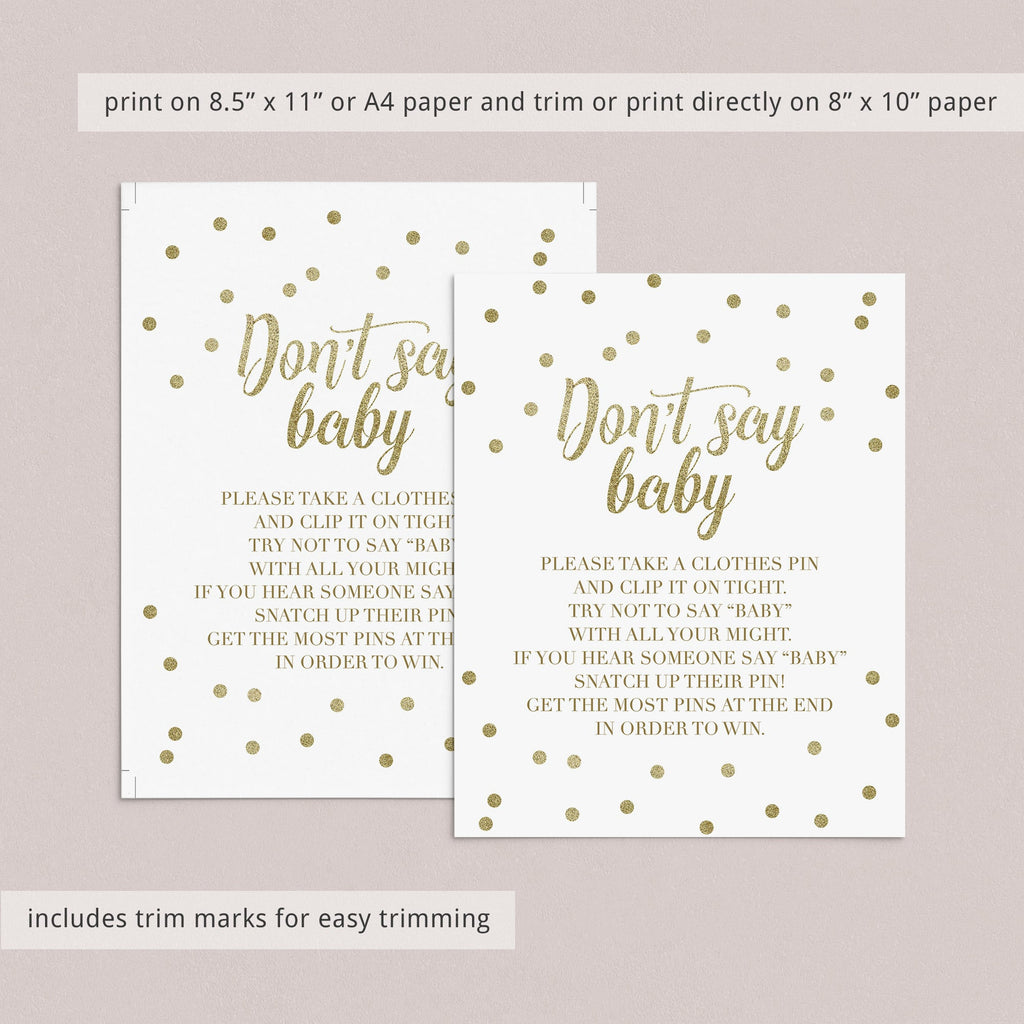 Baby shower game gold confetti dont say baby by LittleSizzle