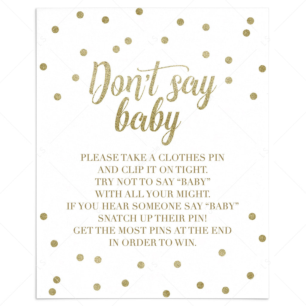 Dont say baby clothespin game for neutral baby shower by LittleSizzle