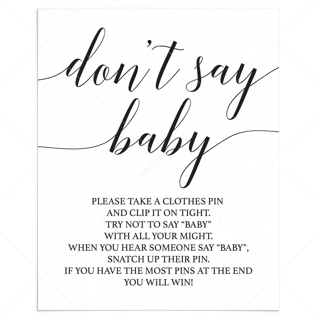 Dont say baby game sign printable by LittleSizzle