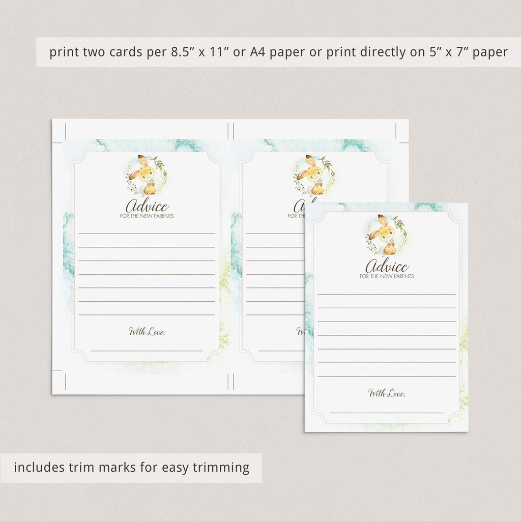 Watercolor bunny with green wreath baby shower game printable by LittleSizzle