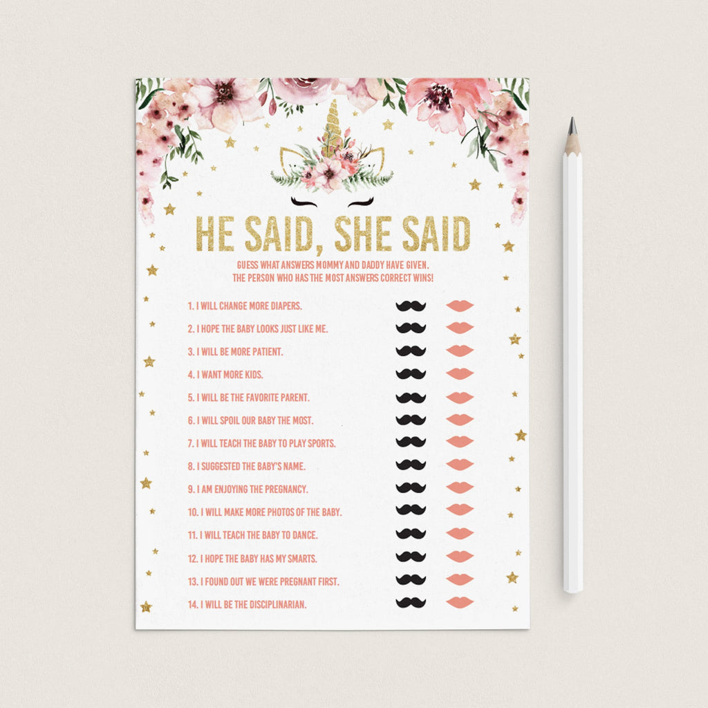 He said she said baby shower game with pink flowers by LittleSizzle