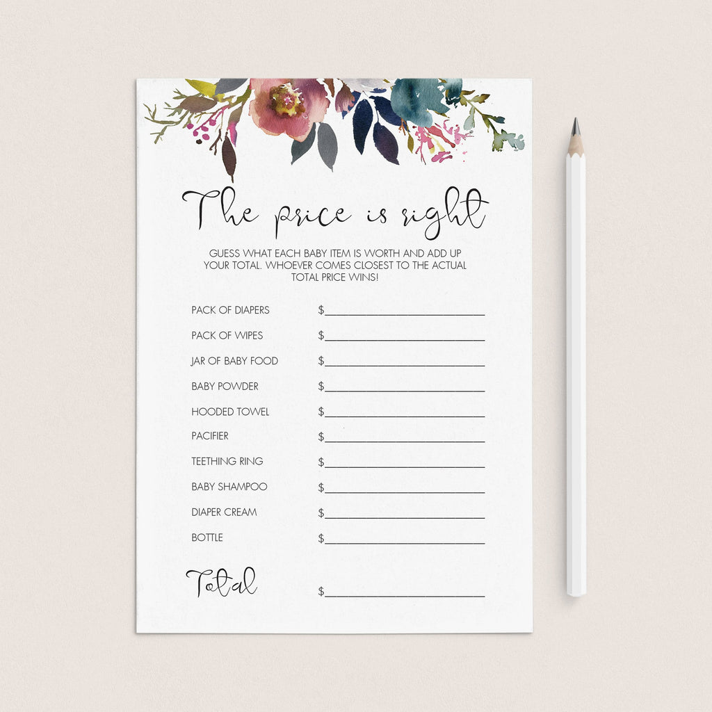 Vintage flowers baby shower game printable price is right by LittleSizzle