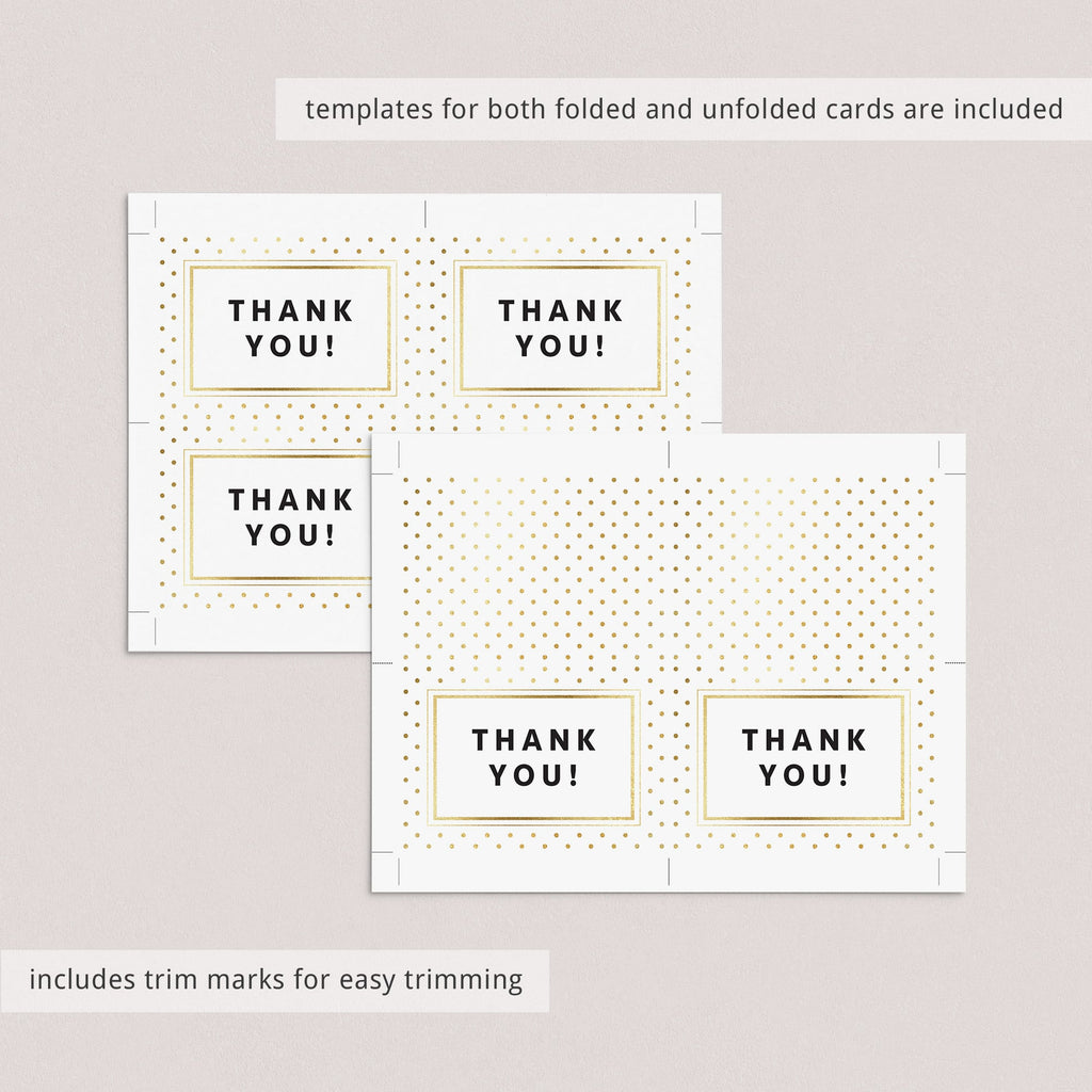 Printable Thank You Notes, Tags and Gift List with Gold Polka Dots