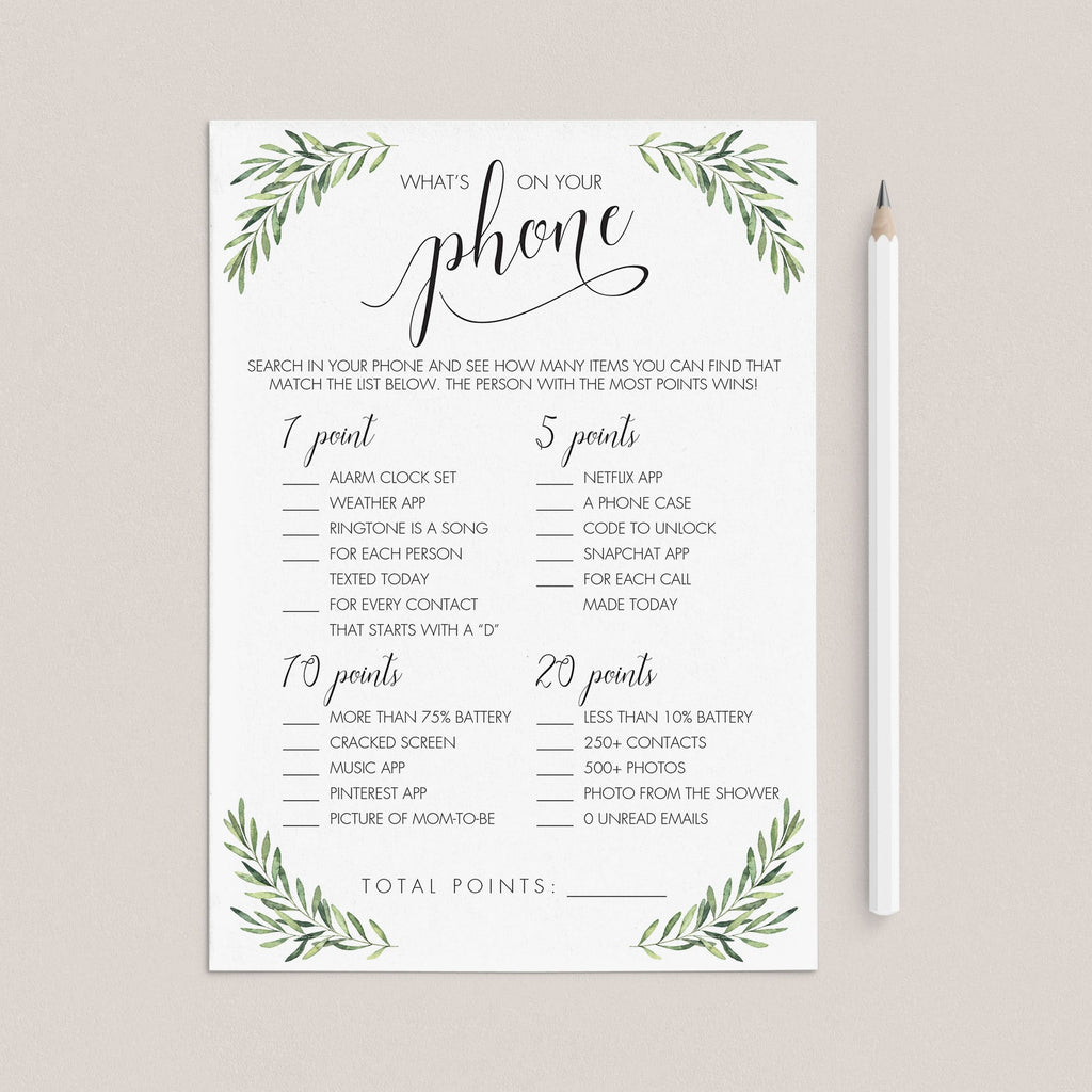 Gender Neutral What's On Your Phone Game for Baby Shower by LittleSizzle
