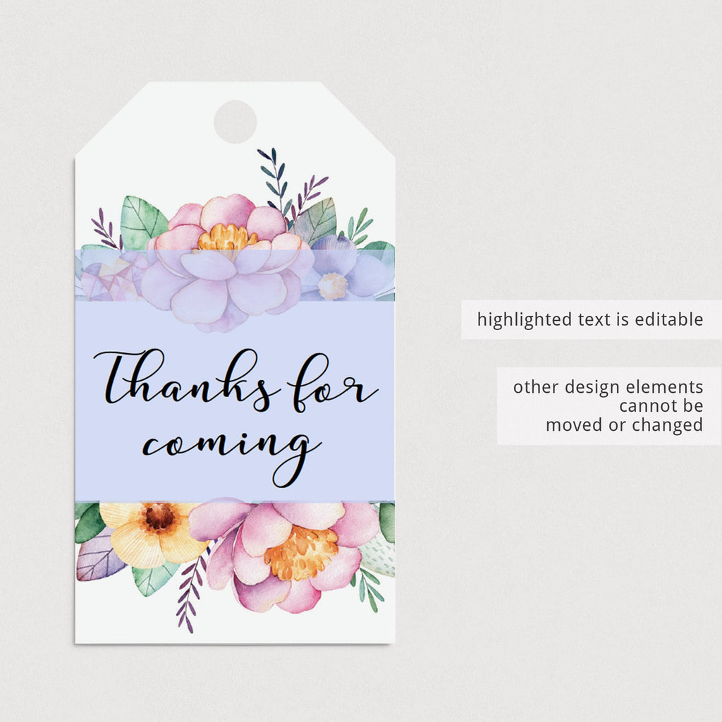 Printable Thank You Card, Favor Tag and Gift List with Purple Flowers