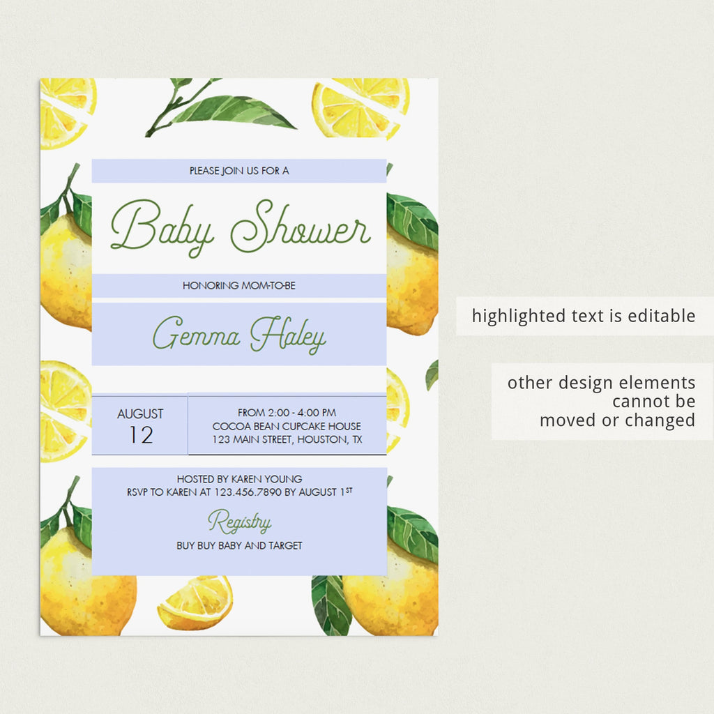 Personalized invitation for citrus baby party by LittleSizzle