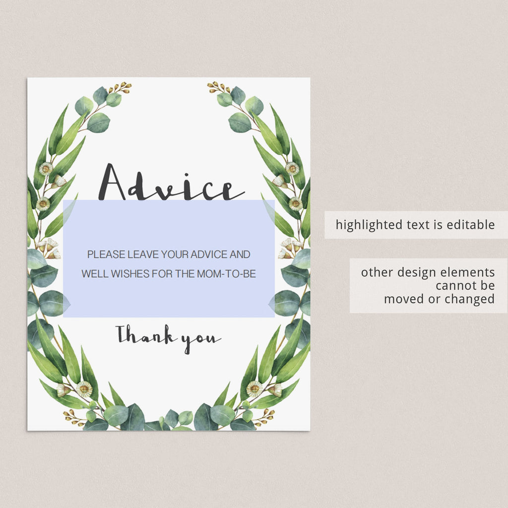 Editable Advice card sign for green themed baby shower by LittleSizzle