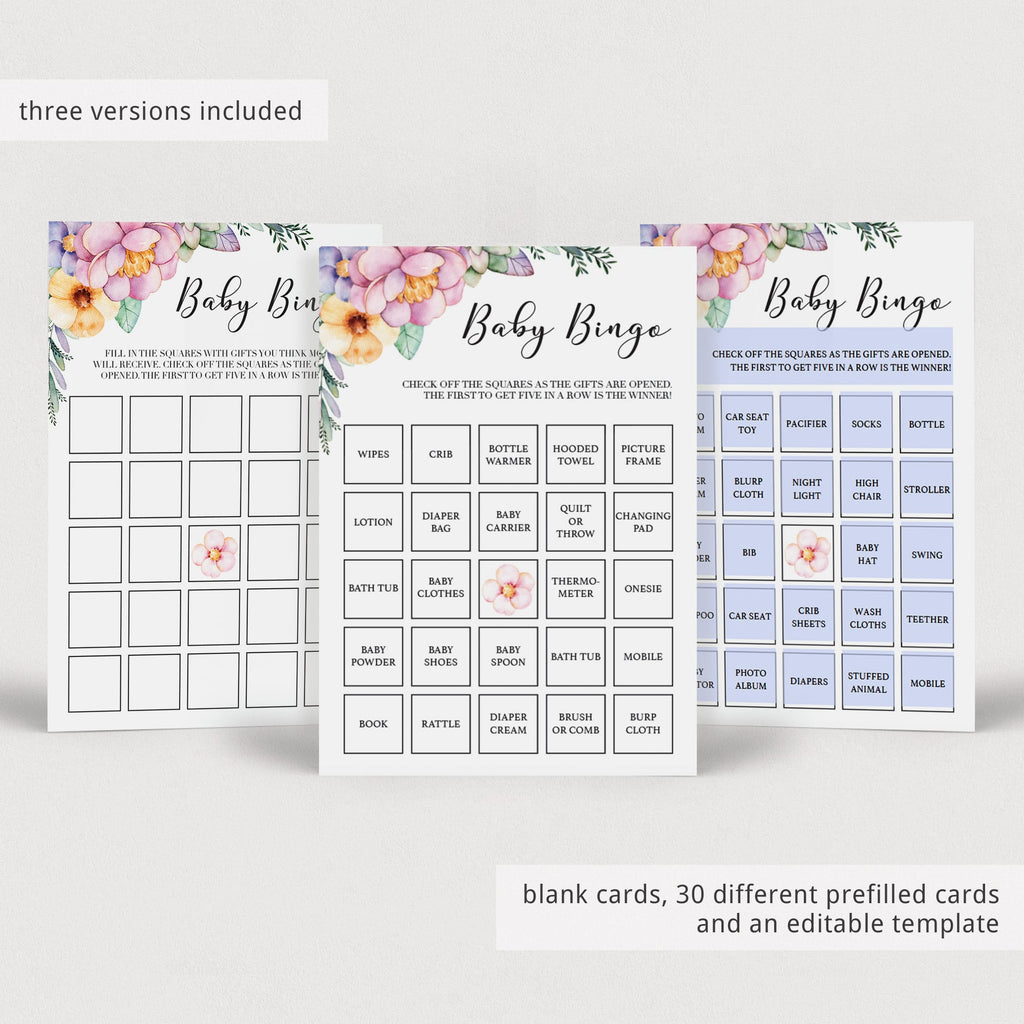 Editable baby shower bingo card template by LittleSizzle