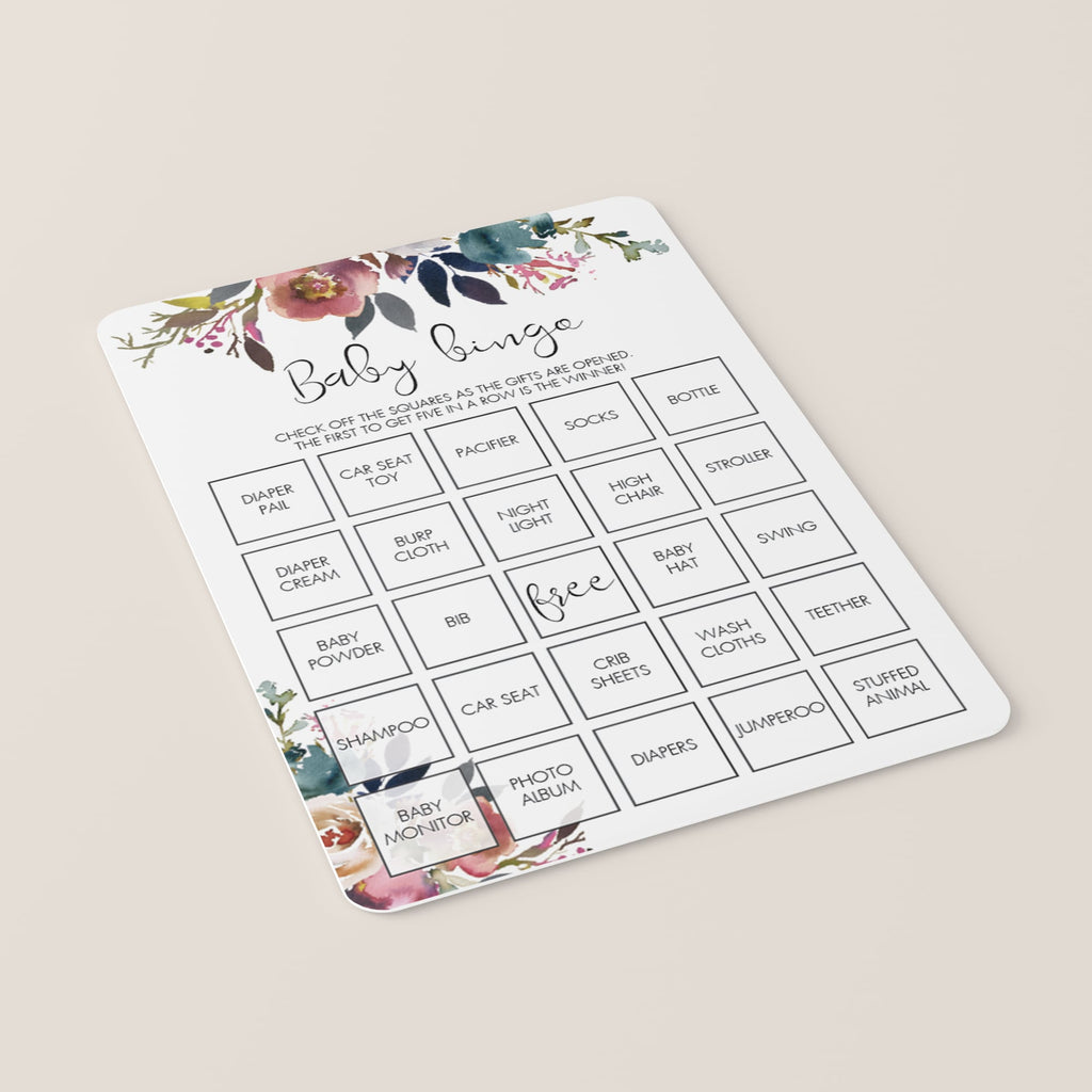 Floral Baby Shower Baby Bingo Printable