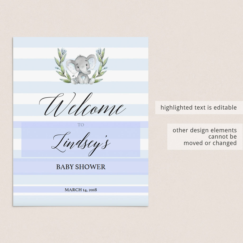 Welcome to boy baby shower printable by LittleSizzle