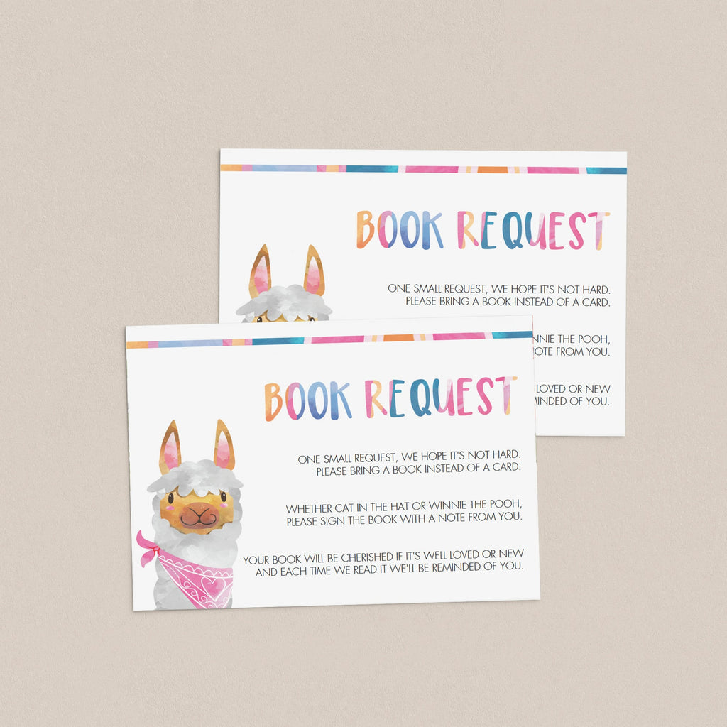 Editable books for baby cards for llama baby shower by LittleSizzle