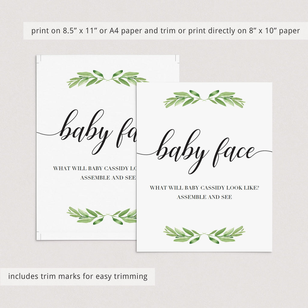 Printable Greenery Baby Shower Activity Baby Face