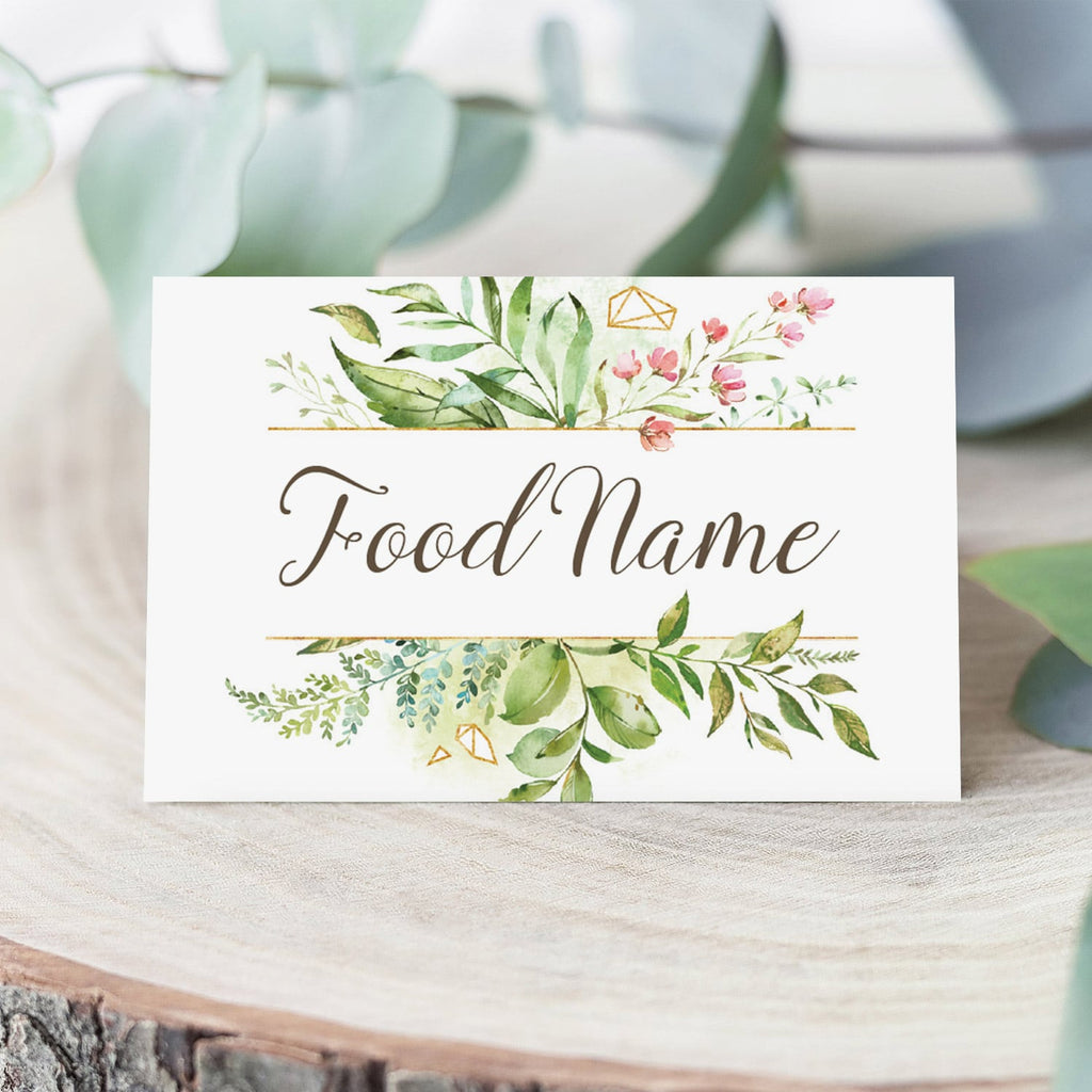 Watercolor baby shower food tent cards by LittleSizzle